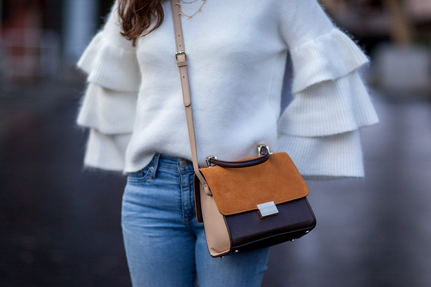 Love of Mode Ruffle Sleeve Sweater